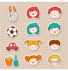 Doodle kids faces icons vector