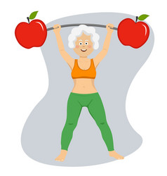 elderly woman exercising dumbbell bar with apples vector image