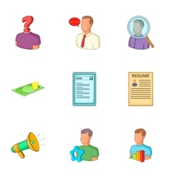 Employment agency icons set cartoon style vector