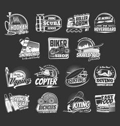 extreme sport and active leisure icons vector image