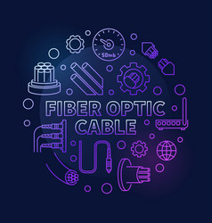 Fiber optic cable round colored outline vector
