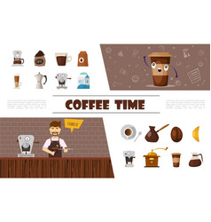 flat coffee elements collection vector image
