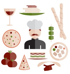 Flat design italian cuisine elements and chef vector