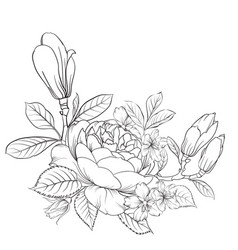 Floral bouquet on white background vector