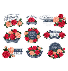 Flowers roses icons for spring mother day vector