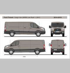 Ford transit cargo delivery van mwb l3h1 2014-2018 vector
