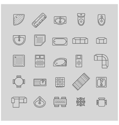 Furniture icons top view vector