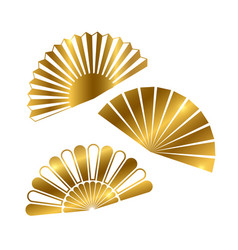 golden hand fan isolated on white background vector image