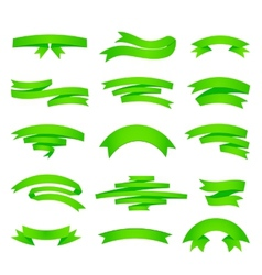 green ribons set isolaten on background vector image