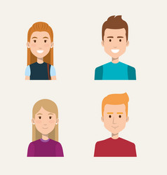 Group of people students portrait young style vector