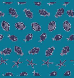 hand drawn sea life geometric arranged on an ocean vector image