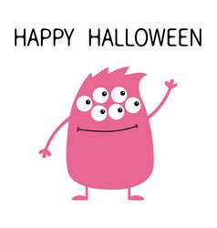 happy halloween cute pink monster icon cartoon vector image