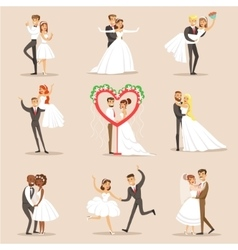 Happy Newlyweds On The Wedding Party Set Of Scenes vector