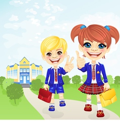 happy schoolgirl and schoolboy near school vector image