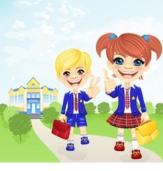 Happy schoolgirl and schoolboy near the school vector