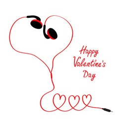 Happy Valentines Day Love card Earphones and red vector image
