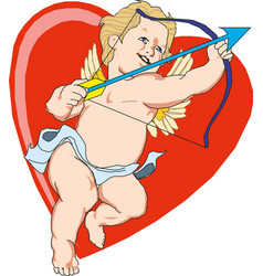 heart with cupid inside valentine s day vector image