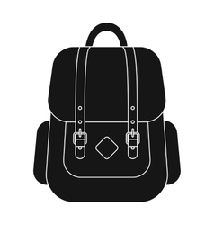 Hipster backpack icon in black style isolated on vector image