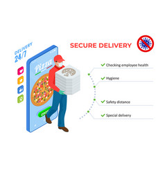 Isometric online pizza order mobile app templates vector