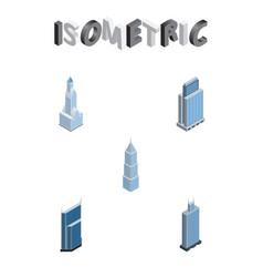 isometric skyscraper set of residential cityscape vector image