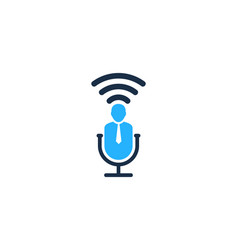 Job podcast logo icon design vector
