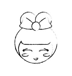 Kokeshi doll sketch face vector