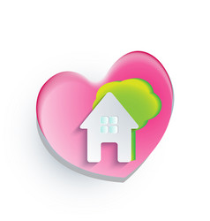 logo house heart shape tree vector image