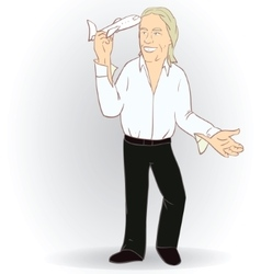Man with Flying Toy Airplane vector image