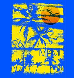 miami summer tee graphic design vector image