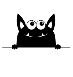 monster scary face head icon hands paw holding vector image