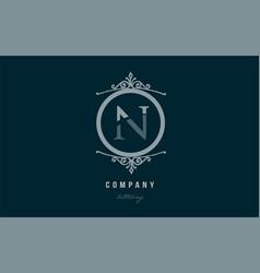 n blue decorative monogram alphabet letter logo vector image