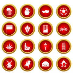 Netherlands icon red circle set vector