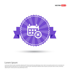 No calendar icon - purple ribbon banner vector