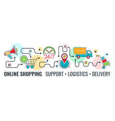 Online internet shopping banner vector