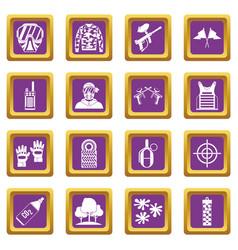 Paintball icons set purple vector