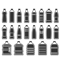 Plastic bottles silhouette icon mineral water vector