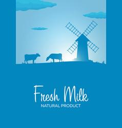 Poster fresh milk natural product rural landscape vector