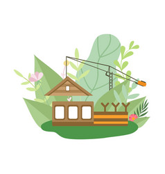 process building wooden house small cottage vector image