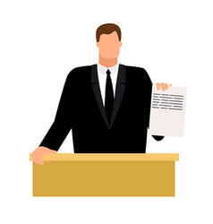 Prosecutor with document in hand vector