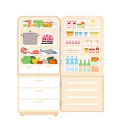 Refrigerator fridge full food with open door vector