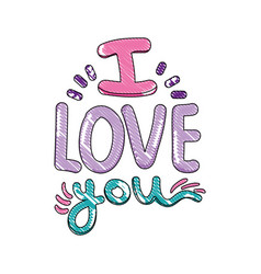scribbled i love you message romantic style vector image