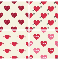 Seamless hearts patterns set vector image