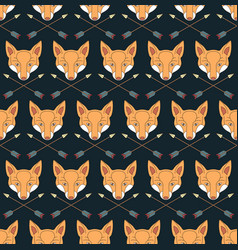 Seamless native american pattern with foxes vector