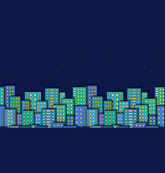 seamless night city landscape vector image