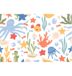 seamless pattern underwater life with cute vector image