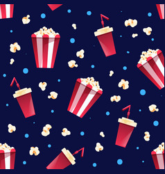 Seamless pattern with striped bucket popcorn vector
