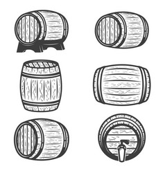 set beer barrels isolated on white background vector image