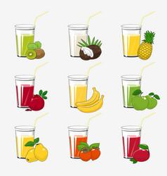Set fresh tropical fruit juices vector