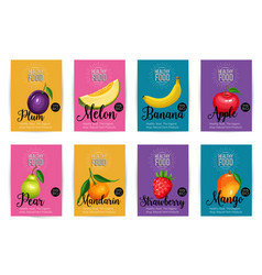Set of banners with fruits vector