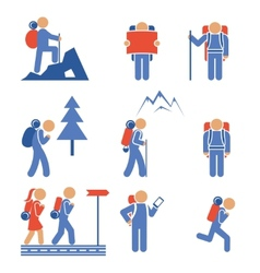 Set of colored hiking icons vector
